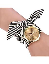 LILICAT Mujeres rayas de tela floral de cuarzo reloj de pulsera reloj de pulsera (Negro