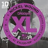 D\'Addario Cordes en nickel pour guitare électrique D\'Addario EXL120-10P, Super Light, 9-42, 10 jeux