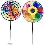 2 Stueck Windmühle UV-Schutz & Wasserdicht Windrad 3D Windspiel Garten BalkonTerrasse Dekoration XXL
