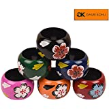 Gauri KOHLI : Hand Painted Wooden Napkin Rings (Set Of 6)