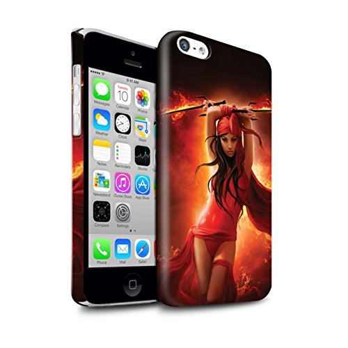Officiel Elena Dudina Coque / Clipser Brillant Etui pour Apple iPhone 5C / En Feu Design / Super Héroïne Collection En Feu