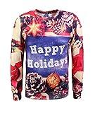 Honeystore Unisex Weihnachtsshirt Christmas 3D Druck Sweatshirt Casual Langarm Rundhals Pullover Drucken Weihnachten T-Shirts mit 3D Druckmuster Kiefer XL