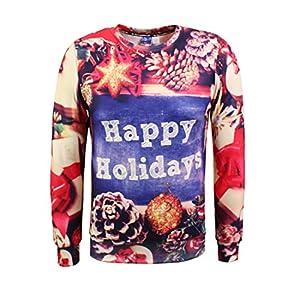 Honeystore Unisex Weihnachtsshirt Christmas 3D Druck Sweatshirt Casual Langarm Rundhals Pullover Drucken Weihnachten T-Shirts mit 3D Druckmuster