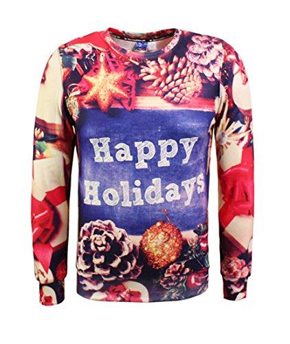 Für Kiefer-t-shirt Jungen (Honeystore Unisex Weihnachtsshirt Christmas 3D Druck Sweatshirt Casual Langarm Rundhals Pullover Drucken Weihnachten T-Shirts mit 3D Druckmuster Kiefer L)
