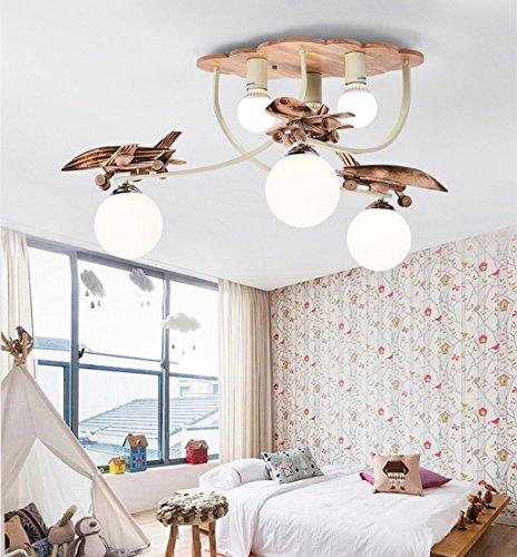 $illuminazione lampadari in legno a sospensione per bambini camera dei bambini creativi camera da letto del ragazzo del fumetto luci illuminazione di asilo per aerei caldi luci interne ( colore : luce bianca )