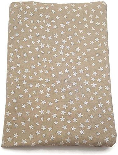 Beige Mutterpasshülle Baumwoll-Stoff mit weißen Sternen