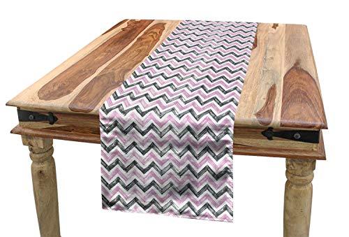 ABAKUHAUS Geometrisch Tischläufer, Stilisierte Chevron Zigzags, Esszimmer Küche Rechteckiger Dekorativer Tischläufer, 40 x 225 cm, Baby-Rosa Charcoal Grau und Weiß