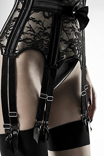 Schwarze Unterbrustcorsage in Lederoptik mit BH und Schnürung sowie Strapsbänder Spitze und Satin Straps-Corsagen Set XXL - 4