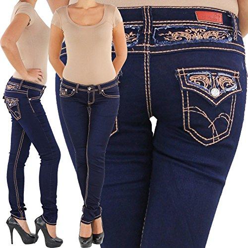 Röhrenjeans Stretchjeans Hüftjeans Stretch Jeans Röhrenhose Röhre Hüft Hose Skinny Slim Fit dicke Naht Blau