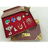 2015 new The Legend of Zelda Twilight Princess & Triforce Hylian shield and sword master key ring legend / necklace / jewelry series in wooden box