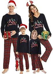 Vlazom Pijamas de Navidad Familia Ropa de Dormir Top de Manga Larga y Pantalones para Mujeres/Hombres/Niños/ni