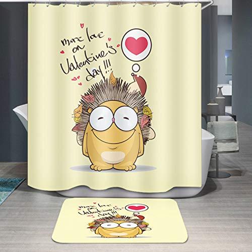 Upstudio Cortina de Ducha Impermeable Cortina de baño Impermeable del poliéster de la Cortina de Ducha de la impresión del Erizo Amarillo de 1PC (tamaño : 180 * 200cm)