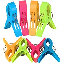 TRIXES Pack de 8 Grandes Playa Toalla Clips - Brillante Color - Plástico - Pinzas /