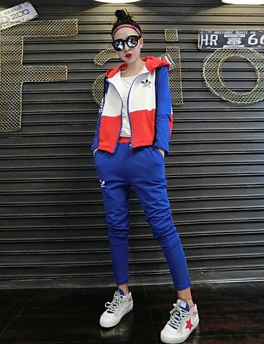 Xuanku Women's Going out Soak Off Summer T-shirt Pant Suits,Solid Round Neck Long Sleeve