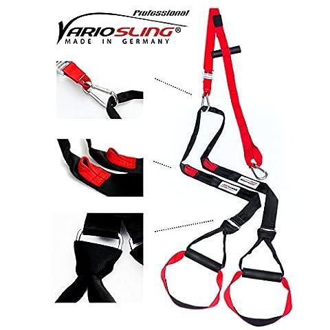 Variosling® Sangles de suspension / Sling-Trainer PROFESSIONAL - modèle 2017 - inclus DVD d'entraînement, ancre de la porte, sac de transport, poster avec 54 exercices | rouge-noir