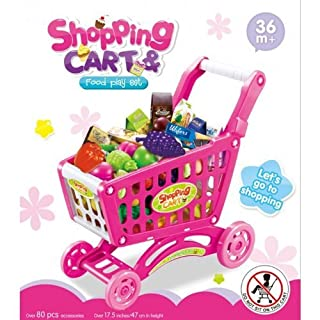 Childrens Shopping Trolley Basket for Toy Shop Kitchen Over 80pcs Play Food Set (Pink) by Anything4home
