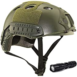 QMFIVE Casque Tactique Le Casque PJ avec Les Lunettes SWAT De Protection pour Combat CQB Airsoft Comdat Paintball (Vert+L)