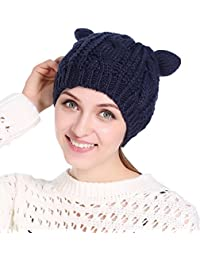 174e98721dd Sumolux Women Winter Knit Beanie Cap Warm Slouchy Cable Chunky Ear Hat Ski  Caps