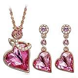 Pauline & Morgen Corazon de rosa Juegos de joyas Mujer Joyeria con cristales Swarovski regalos cumpleanos regalos de navidad regalo dia de la madre regalos san valentin aniversario mama Hermana nina