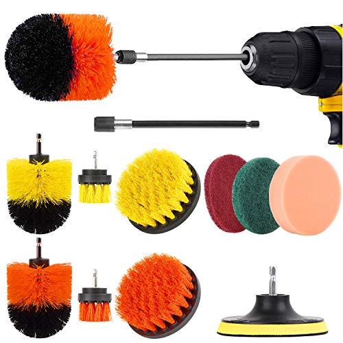 NUOSEM 11 Stück Elektrische Rotierende Reinigungsbürste Felgenbürste Sets Kompatibel Fast Bohrmaschine, Drill Brush, Akkuschrauber Bürstenaufsatz, Power Scrubber Reinigung Kit für Felgen,Küche,Auto