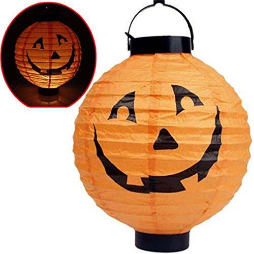 MAXGOODS LED Papier Halloween Hängende Laterne Fledermaus Spinne Kürbis Licht Party Dekor Lampe - Orange - Batterien nicht enthalten
