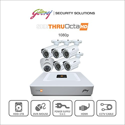 Godrej Octra Hd 1080p Sehcctv1500-5b1d 1.3mp 8-channel Dvr With 5 Bullet And 1 Dome Camera (white)