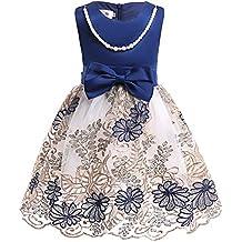 QZ Vestidos para niñas Bordados Flor de Malla Vestido para niños pequeños Europa y Estados Unidos