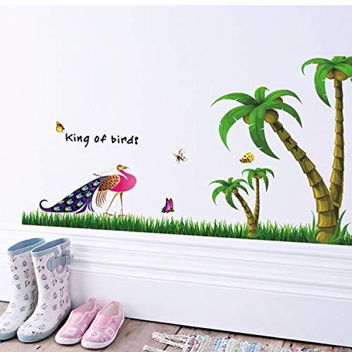 KHFVCSOMB Urlaub Strand Palmen Kokospalme PVC Wandaufkleber König Der Vögel Schmetterling Salon Kinder Schlafzimmer Wohnkultur Wandbild Wandtattoo 60 * 120 cm