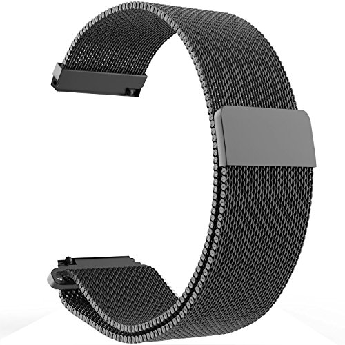 Turnwin Replacement Metal Milanese LOOP Bands for Fossil Q Marshal Gen 2 Touchscreen Smartwatch (Black)