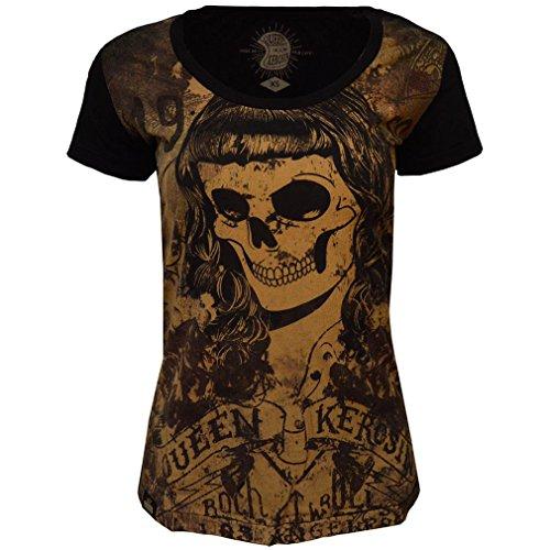 Queen Kerosin Vintage T-Shirt - Skull Girl 59 Schwarz Mehrfarbig