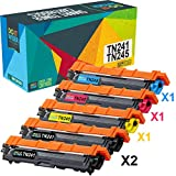 Do it Wiser Cartouches de Toner TN-241BK TN-245 C,M,Y Compatibles pour Brother MFC 9140CDN MFC 9330CDW MFC 9340CDW HL 3140CW HL 3170CDW HL 3170CDW DCP 9020CDW DCP 9015CDW (Pack de 5)