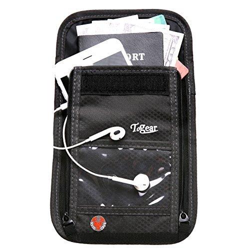 Reise Brustbeutel mit RFID-blockierender 2in 1Passport Halter & Reisen Geldbörse für Herren und Damen Grau grau (Herren-passport-halter)