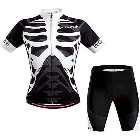 WOSAWE manga corta Maillot ciclismo ropa Set bicicleta bici traje esqueleto -XL
