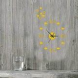 Llcf Reloj De Pared Práctico Reloj De Pared Decorativo Creativo DIY Sala De Estar Tranquila Dormitorio 3D Pegar Reloj Acrílico 16 Pulgadas Etiqueta De La Pared Reloj De Pared Amarillo Ganso