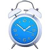 Konigswerk - Reloj despertador (10,16 cm, silencioso, mecanismo de cuarzo, analógico, con sonido alto de despertador), diseño vintage - azul