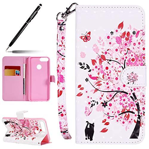 Uposao Kompatibel mit Handyhülle Huawei Honor 9 Lite Leder Tasche Schutzhülle Glitzer 3D Glitter Handytasche Ledertasche Lederhülle Klapphülle Book Case Schutzhülle Flip Cover,Rosa Kirsche Blumen -