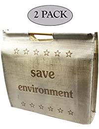 SNDIA Large Capacity Hand Bag/Shopping/Grocery/Vegetable Bag With Wooden Handles For Multipurpose Use - (20x5.5x18...