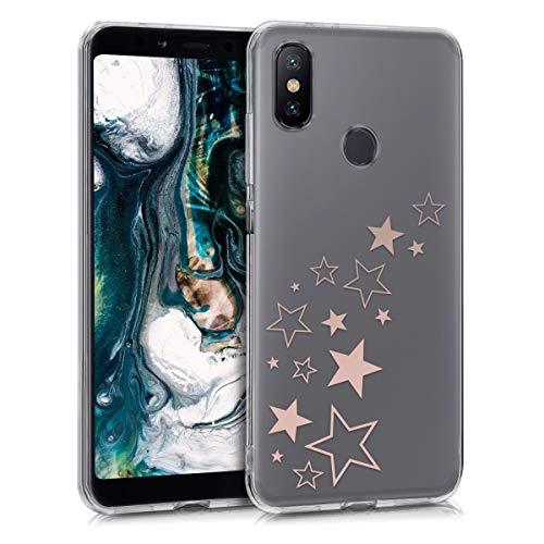kwmobile Funda para Xiaomi Mi 6X / Mi A2 - Carcasa Protectora de TPU con diseño de Varias Estrellas en Oro Rosa/Transparente