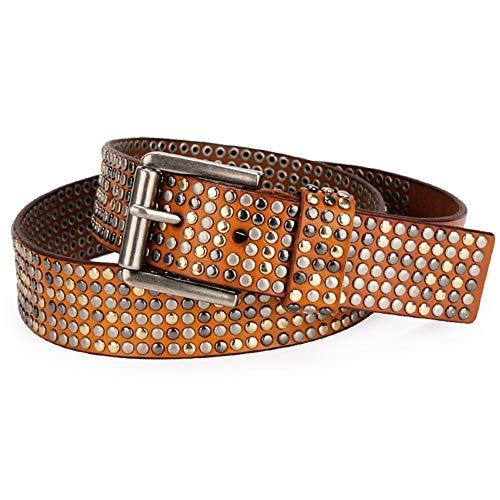 Chengzuoqing Punk-Gürtel 6 Row Studded Belt Outdoor Bekleidung Unisex Solid Leather Geeignet für Männer und Frauen (Farbe : Braun, Größe : Free Size) Row Studded Belt