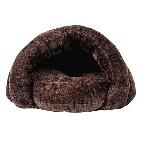 Ldfn canile lettiera per gatti inverno piccolo chiuso inverno cuccia per animali domestici cat cat sitting sacco a pelo,brown-l50*w50*h36cm/20*20*14in