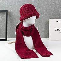Sombrero - Old Man Hat Winter Espesar Gorro para Lavabo Mamá Orejeras de Punto Gorra de Abuela de Mediana Edad (Bufanda + Gorro) (Color : D)