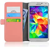 Samsung Galaxy S5 / S5 Neo, JAMMYLIZARD Luxuriöse Ledertasche Flip Cover, PFIRSICHROSA