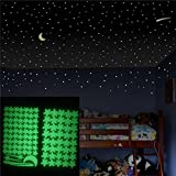 Wandaufkleber Wallsticker Ronaimck Glow In The Dark Star Wandaufkleber 103 Stücke Sterne Mond Luminous Kinder Zimmer Dekor (Grün)