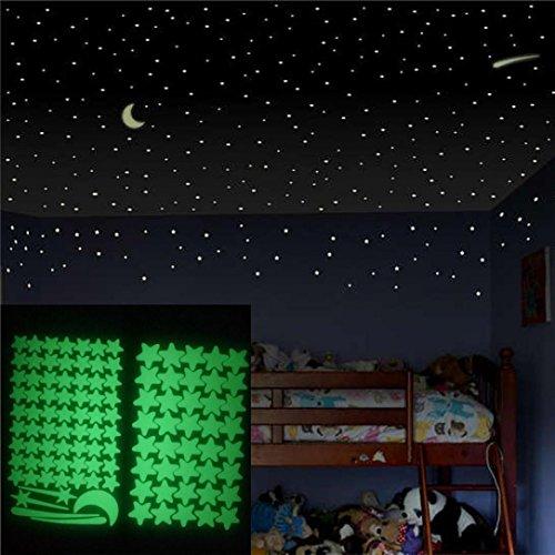 icker Ronaimck Glow In The Dark Star Wandaufkleber 103 Stücke Sterne Mond Luminous Kinder Zimmer Dekor (Grün) (Glow In The Dark-dekorationen Für Raum)