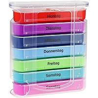 Preisvergleich für WELLGRO® Tablettenbox für 7 Tage - je 4 Fächer pro Tag, 11,5 x 4,5 x 13 cm (BxTxH) - Farbe wählbar, Farbe:Bunt