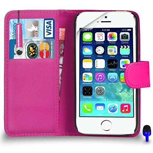 Apple iPhone 5 / 5S Premium Leather Wallet bleu flip écran Housse Pouch + Mini Stylus Pen + Protecteur & Chiffon PAR SHUKAN®, (BLEU) Rose Vif