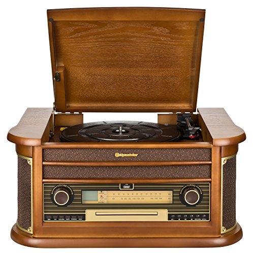 Roadstar HIF-1990 Retro Stereo-Anlage mit Plattenspieler, Kassette, CD-Player und Radio (UKW / MW, CD / MP3, USB, beleuchtetes LCD-Display, Fernbedienung, 40 Watt Musikleistung), braun - 2