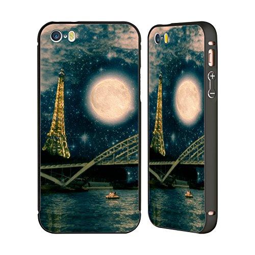 Ufficiale Paula Belle Flores Una Notte A Parigi Luna Nero Cover Contorno con Bumper in Alluminio per Apple iPhone 5 / 5s / SE Una Notte A Parigi