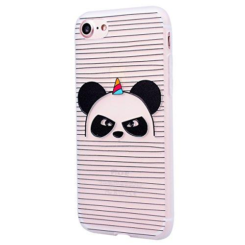Yokata Cover per iPhone 7 Plus 3D Sollievo Disegno Custodia Gel Silicone Molle di Flessibile TPU Morbido Case Protezione Backcover Soft Caso Gomma Bumper Protettiva Shell + Penna - Ragazza sexy Panda