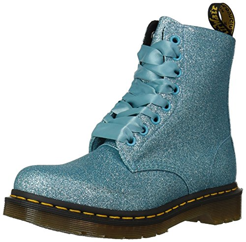 Dr Martens Women's 1460 Pascal Glitter 8 Eye Lace Up Boot Turquoise-Turquoise-3 Size 3
